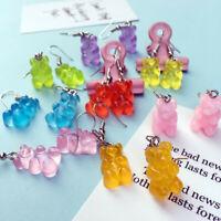 Cartoon Jewelry Women Resin Bear Dangle Animal Drop Earrings Cute Hook Girls