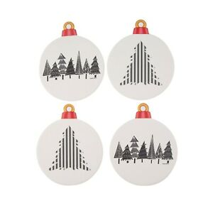 Set of 4 Holiday Time Black & White Winter Christmas Tree Ornament Coasters-1279
