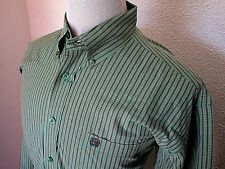 Cinch Shirt Mens Large Geometric L/S Cotton Button Front Green Red White Striped