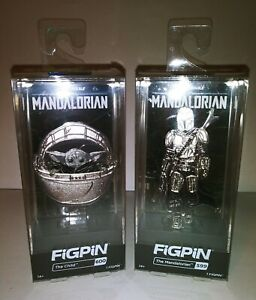 FiGPiN Star Wars The Mandalorian 599 and The Child 600 Chrome Set of 2 Exclusive
