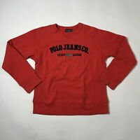 Vtg Polo ralph lauren Jeans Orange Crewneck shirt Mens M spellout sweatshirt