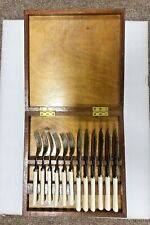 More details for vintage chrome plated cutlery set in a solid wooden case, sheffield, 12 piece