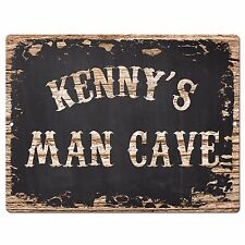 PP4112 KENNY'S MAN CAVE Plate Chic Sign Home Room Garage Decor Birthday Gift