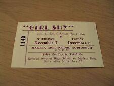 "1920's Senior Class Play Ticket~""GIRL SHY""~MADERA UNION HIGH SCHOOL~California~"