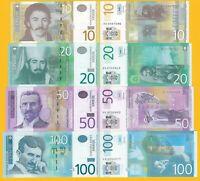 Serbia Set 10, 20, 50, 100 Dinara 2013-2014 UNC Banknotes