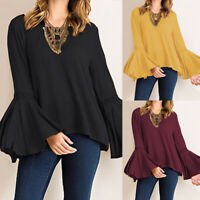 ZANZEA 8-24 Women Casual Flare Bell Sleeve Top Tee T Shirt Club Party Blouse