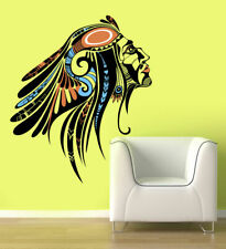 ced250 Full Color Wall decal Sticker Indian Head abstraction living bedroom