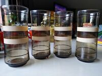 4 Vintage MCM Beige and Brown Striped Retro Drinking Glasses 6.5""