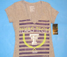 NWT Hurley TEXAS TECH 1839 Deep V-Neck T-Shirt  Womens Sz S RED RAIDERS Gray