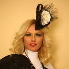 Fascinator Hat Black & White. Handmade in NY.Derby Day, Oaks,Wedding. One size.
