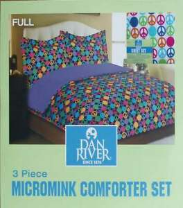 PEACE SIGNS DOTS FULL COMFORTER SHEETS SHAMS 7PC BEDDING SET NEW