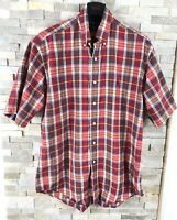 Ralph Lauren Polo Mens Size M Red Checked Short Sleeve Shirt Custom Fit