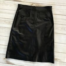 Worth Black Leather Knee Length Pencil Skirt Size 4