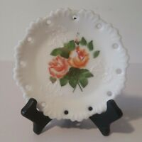 """Milk Glass 6"""" Plate w/ Pierced Edges & Embossed Leaves Painted Roses ~ A1"""