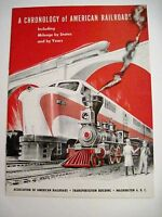 "1954 ""A Chronology of American Railroads"" Booklet Published by Washington DC *"