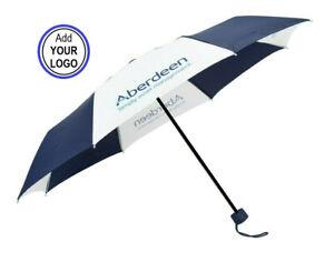 Personalised Compact Folding Umbrellas Custom Printed Logo - Navy Blue & White