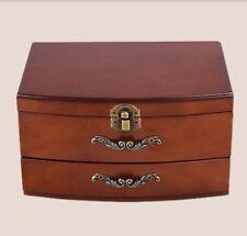 D01 Wooden Jewelry Box Necklace Storage Treasure Display Organizer Case Mirror Q