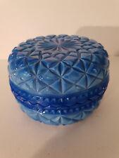 BEAUTIFUL BLUE MALACHITE GLASS TRINKET BOX CZECH?