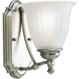 Progress Lighting Renovations 1-Light Antique Nickel Bath Sconce w/Glass Shade