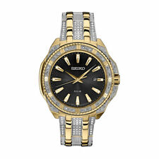 Mens Seiko Solar Swarovski Crystal Gold Silver Stainless Black Dial Watch SNE458