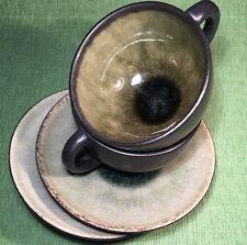 Set:2 JARS FRANCE SAMOA VERT CUP & SAUCER Mottled Green Black Matte Glaze