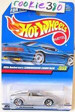 1999 Hot Wheels #1089 ∞ 25TH ANNIVERSARY LAMBORGHINI COUNTACH ∞ silver 5 DOT