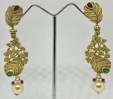 Indian Pakistani Ethnic Bollywood Gold Plated Green Pink Jhumki  Earring 1230