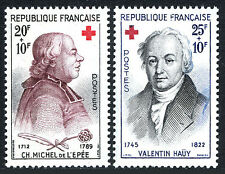 France B337-B338, MNH. Red Cross. Charles Michel de I'Epee, Valentin Hauy, 1959