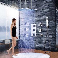 "20"" LED Rain Shower Head Thermostatic Valve 6 PCS Jets Hand Shower Ceiling Mount"
