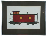 1973 Jonathan Talbot Red Caboose Locomotive Train Engine Etching Framed COA 29""