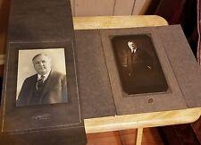 2-pc Vintage Photo LOT Big Man Sepia Photographs Decatur, Illinois - Matted