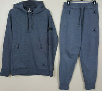 NIKE JORDAN ICON FLEECE SWEATSUIT HOODIE + PANTS DARK GREY RARE (SIZE MEDIUM)