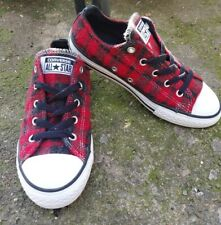 Girl's Converse All Star Red And Black Check Flannel Lowtop Shoes Size 2