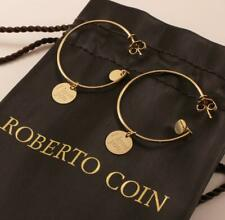 "ROBERTO COIN 18K YELLOW GOLD DISC ""I LOVE YOU"" HOOP DROP DANGLE EARRINGS"