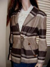 BENETTON Women 100% Wool BLANKET COAT JACKET BLAZER Southwest ITALY 42 / 8 brown