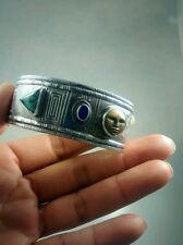 Stunning signed Tabra sterling moon face turquoise lapis cuff bracelet bangle
