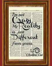 Alice in Wonderland Cheshire Cat Dictionary Art Print Book Picture Quote Poster