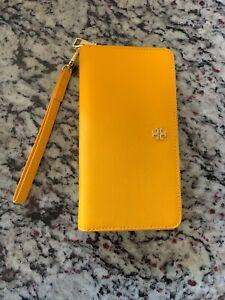 Tory Burch Emerson Zip Passport Continental Wallet Cassia Yellow Nwt
