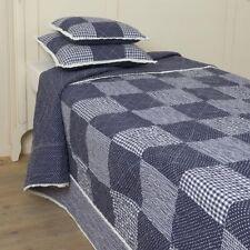 Tagesdecke NOA 260x260 Sofa Überwurf Blau Weiß kariert LANDHAUS Vichy Karo Plaid