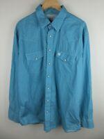 Cinch Mens Shirt Size XL Long Sleeve Button Up Regular Fit Pearl Snap Blue