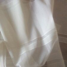 "Remnant of Sheer Ivory Nylon fabric with embossed Lateral Stripes 59"" W x 13""L"