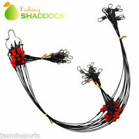 24Pcs Fishing Wire Rigs 2 Arms Wire Leader Guff Rigs with Swivels & Snaps Tackle