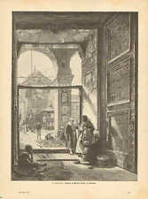 Entrance to the Great Mosque in Damascus, Vintage 1894 German Antique Art Print