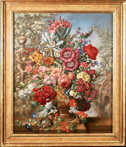 c. 1920 LARGE CONTINENTAL OIL ON CANVAS - FLOWERS IN URN RIVER WITH BIRDS NEST