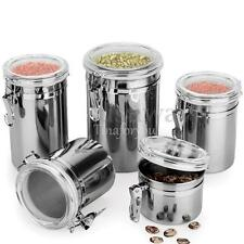 4 Size Stainless Steel Storage Container Coffee Canister Sugar Tea Milk Powder