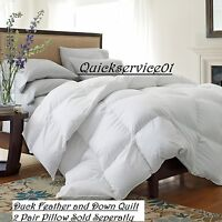 Hotel Quality Duck Feather & Down Quilt 10.5&13.5 TOG Quilts ,Pillows ALL SIZES
