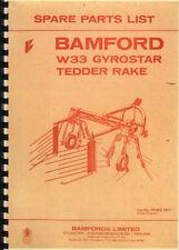 Bamford W33 Gyrostar Tedder Rake Illustrated Parts Book