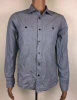 Marc Ecko Cut & Sew Button Up Men's Blue Stripe Striped Shirt Small