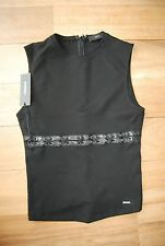 NWT Black DIESEL T-Ruby Sleeveless Top W/Faux Leather Trim & Lacing Small