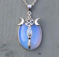 Opalite, Rainbow Moonstone Goddess Triple Moon Pentagram Pendant Wicca Chakra